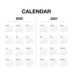 minimalistic desk calendar 2020 and 2021 years vector image