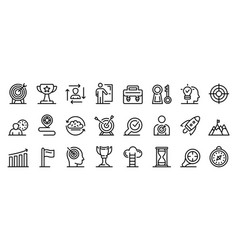 Mission icons set outline style vector