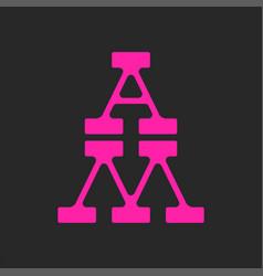 Monogram letters am or ma logo initials pop art vector