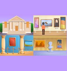 Museum banner set cartoon style vector