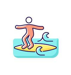 Noseriding surfing technique rgb color icon vector