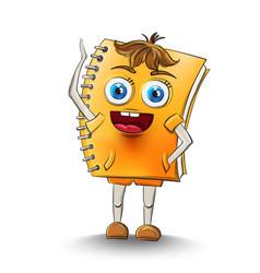 notebook cartoon character happy smilling vector image