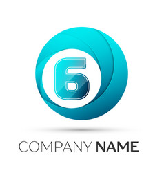 Number six logo symbol in the colorful circle on vector