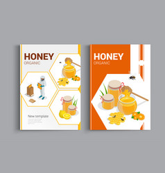 Organic raw honey design brochure abstract vector