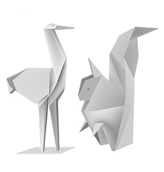 Origami squirrel stork vector