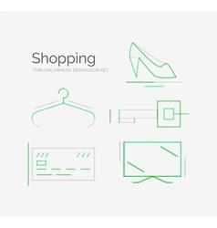Outline design shopping icon set vector image