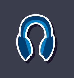 paper sticker technology gadget headphones vector image