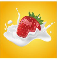 realistic strawberry cream milk vector image