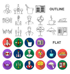 Restaurant and bar flat icons in set collection vector
