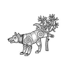 Robot dog pissing on tree sketch vector