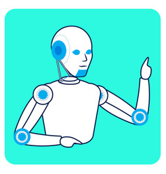Robot pay attention gesture flat vector