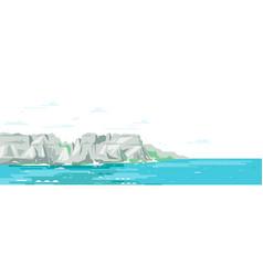 Rocky cliffs ocean landscape background vector