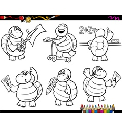School turtle set cartoon coloring page vector