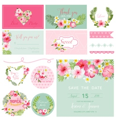 Scrapbook Design Elements - Tropical Flower Theme vector image