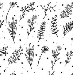 seamless pattern mystical flowers and branches and vector image