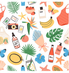 Seamless pattern with summer attributes on white vector