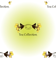 Seamless pattern with tea set logo vector