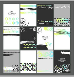 Set creative universal art posters or cards vector