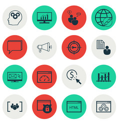 Set of 16 seo icons includes intellectual process vector