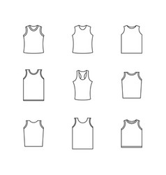 set of different shirts from thin lines vector image