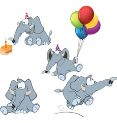 set of elephants cartoon vector image