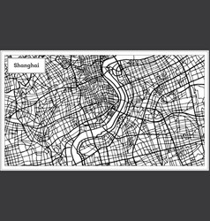 Shanghai china city map in black and white color vector