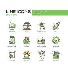 Shopping - line design icons set vector