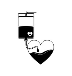Silhouette bag donate blood and heart shape vector
