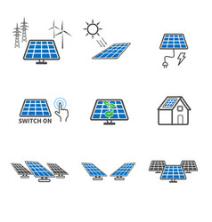 solar cell icons power and energy concept vector image