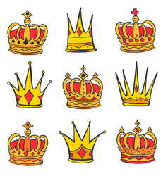 Style red crown doodle set vector