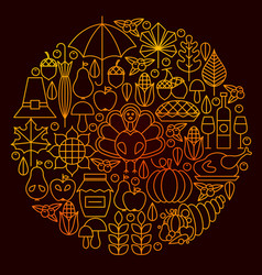 thanksgiving day line icon circle concept vector image