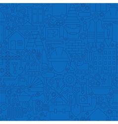 Thin Line Dark Blue Construction Seamless Pattern vector image