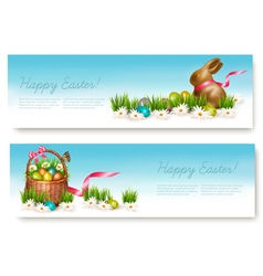 Two Happy Easter banners with easter eggs in a vector image