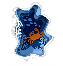 Underwater sea landscape paper cut vector