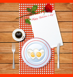 valentines day breakfast with red rose and vector image