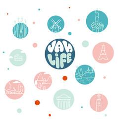 van life movement abstract hand drawn banner vector image