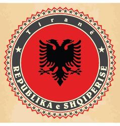 vintage label cards albania flag vector image
