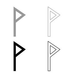 vuno rune wunjo symbol w win vane joy icon set vector image
