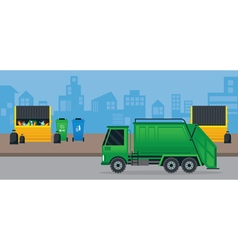 Waste or Garbage Truck and Dumpster vector
