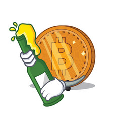 With beer bitcoin coin character cartoon vector