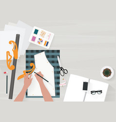 women writing pattern clothes on the table with vector image