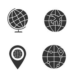 worldwide glyph icons set vector image