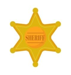 Golden west sheriff star metal badge vector image vector image