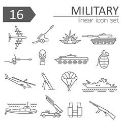 Military icon set Thin line design vector image