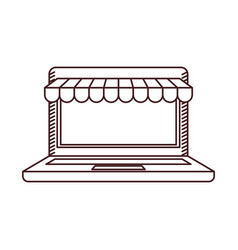 monochrome silhouette of laptop computer online vector image