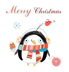 New year greeting card with penguin vector image