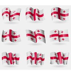 Set of Georgia flags in the air vector image