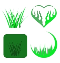 Set of green grass icons vector