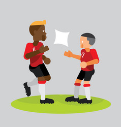 soccer players team partner celebrate with high vector image vector image