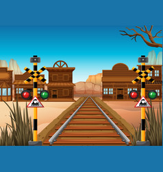railroad scene in the western town vector image